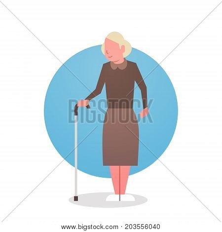 Senior Woman With Stick Grandmother Gray Hair Female Icon Full Length Lady Flat Vector Illustration