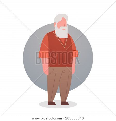 Senior Man Grandfather Gray Hair Male Icon Full Length Flat Vector Illustration