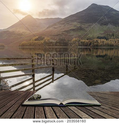 Stuning Autumn Fall Landscape Image Of Lake Buttermere In Lake District England Concept Coming Out O