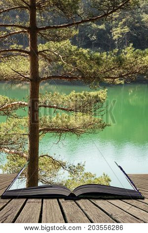 Beautiful Vibrant Landscape Image Of Old Clay Pit Quarry Lake With Unusual Colored Green Water Conce