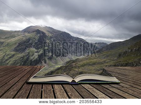 Landscape View Of Glyder Fawr Peak In Snowdonia From Halfway Up Mount Snowdon In Low Cloud Concept C