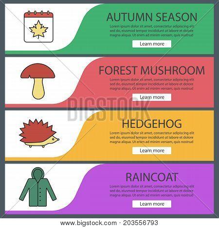 Autumn season web banner templates set. Calendar with maple leaf, mushroom, hedgehog, raincoat. Website color menu items. Vector headers design concepts