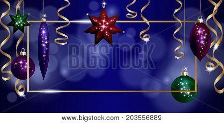 Christmas Frame Banner Template. Ball Fir Toys star golden silver sparkle serpentine streamer. New Year tree decoration gold blur defocused background.3d realistic design element. Vector illustration art