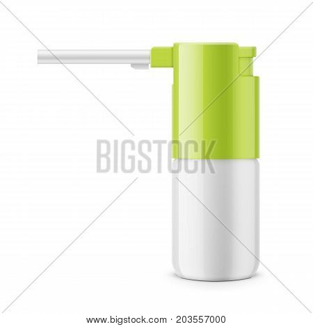 White glossy oral spray or aerosol bottle with green cap. 30 ml. Realistic packaging mockup template. Side view. Vector illustration.