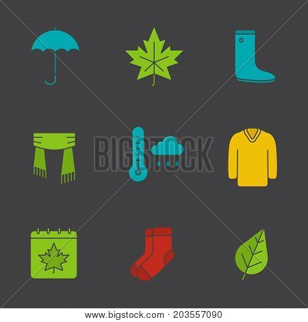 Autumn glyph color icon set. Umbrella, warm socks, maple leaf, watertight, scarf, sweater, autumn weather and calendar. Silhouette symbols on black backgrounds. Negative space. Vector illustrations