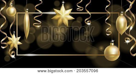 Christmas Frame Banner Template. Ball Fir Toys star golden silver sparkle serpentine streamer. New Year tree decoration gold blur defocused background.3d realistic design element. Vector illustration art