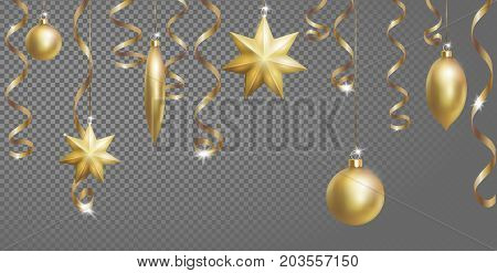 Christmas Seamless Border Banner Template. Ball Fir Toys star golden silver sparkle serpentine streamer. New Year tree decoration gold transparent grid 3d realistic design element. Vector illustration art