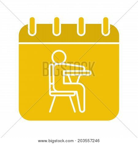 September 1st glyph color icon. Calendar page with student. Silhouette symbol on white background. Negative space. Vector illustration