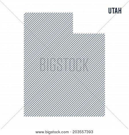 Vector Abstract Hatched Map Of State Of Utah With Oblique Lines Isolated On A White Background.