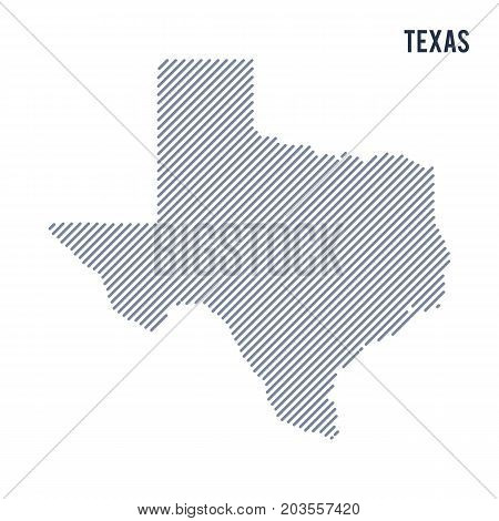 Vector Abstract Hatched Map Of State Of Texas With Oblique Lines Isolated On A White Background.
