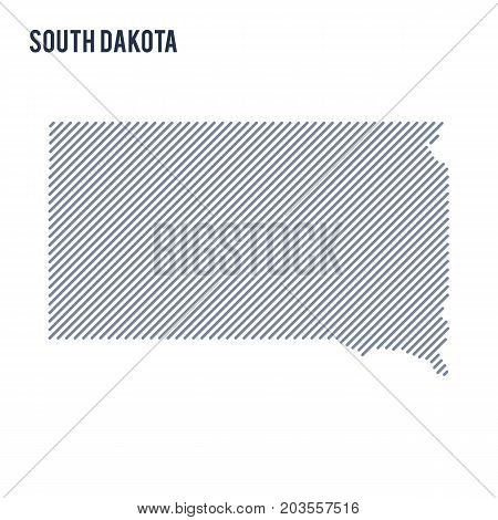 Vector Abstract Hatched Map Of State Of South Dakota With Oblique Lines Isolated On A White Backgrou