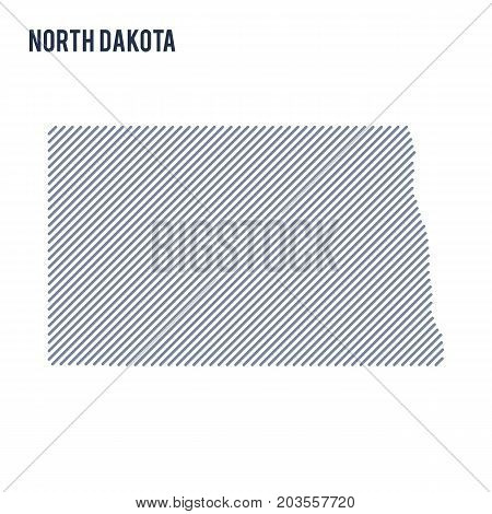 Vector Abstract Hatched Map Of State Of North Dakota With Oblique Lines Isolated On A White Backgrou