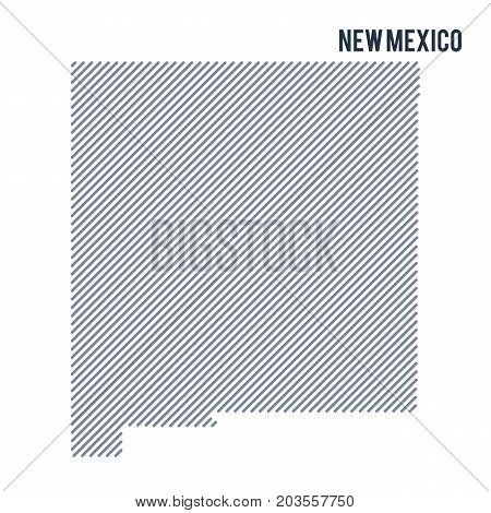 Vector Abstract Hatched Map Of State Of New Mexico With Oblique Lines Isolated On A White Background