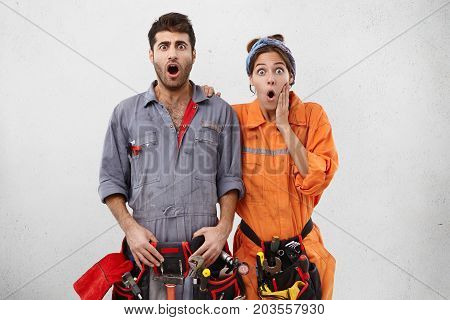 Human Facial Expressions, Emotions, Feelings, Reaction And Attitude. Portrait Of Couple Male And Fem