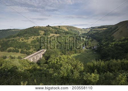 Landscape image of Headstone Viaduct and Monsal Head in Peak District in Summer poster