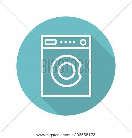Washing machine flat linear long shadow icon. Washer. Vector outline symbol