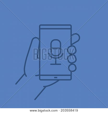 Hand holding smartphone linear icon. Smart phone voice recorder. Thin line outline symbols on color background. Vector illustration