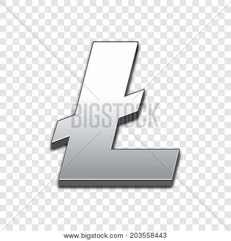 Litecoin isolated web vector icon. Litecoin trendy 3d style vector icon. Raised symbol illustration. Litecoin symbol vector icon for your web site design, internet, graphic interface, business.