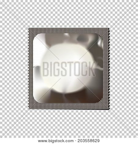 Realistic condom isolated on transparent background. Vector illustration.