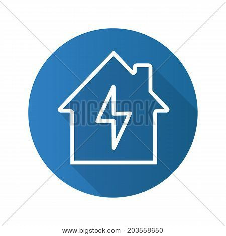 Home electrification flat linear long shadow icon. Electric utilities. House with lightning bolt inside. Vector outline symbol