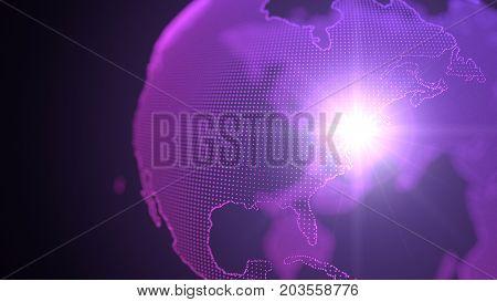 dot style purple hologram of earth continents.focused on newyork. light beam on newyork