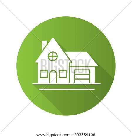 Cottage flat design long shadow glyph icon. Family house. Residence. Vector silhouette illustration
