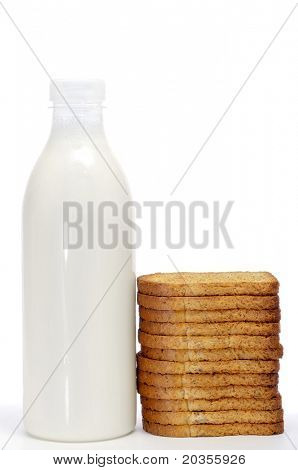 poster of a milk bottle and bread rusks on a white background
