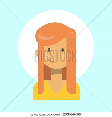 Female Emotion Profile Icon, Woman Cartoon Portrait Happy Smiling Face Vector Illustration