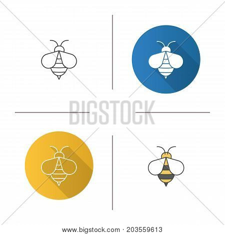 Honey bee icon. Flat design, linear and color styles. Wasp. Apiary sign. Isolated vector illustrations