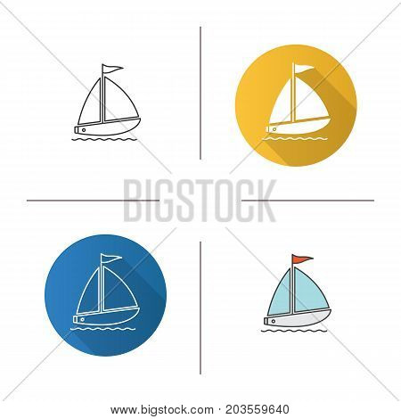 Sailboat icon. Flat design, linear and color styles. Yachting. Isolated vector illustrations