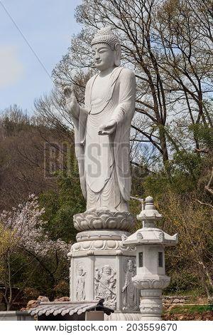 Budda statue in buddhist temple Songgwangsa South Korea. 12 april 2017