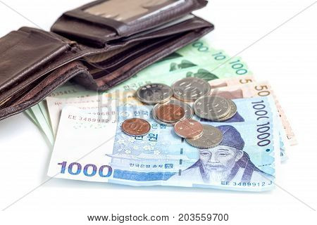 Different value South korean currency near the wallet save your money concept isolated
