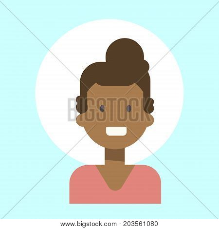 African American Female Emotion Profile Icon, Woman Cartoon Portrait Happy Smiling Face Vector Illustration
