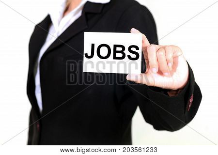 Businesswoman Asia Holding And Shown A Jobs Word On The Business Card On White Background