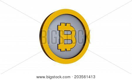 Bitcoin logo isolated on white background. 3d rendering