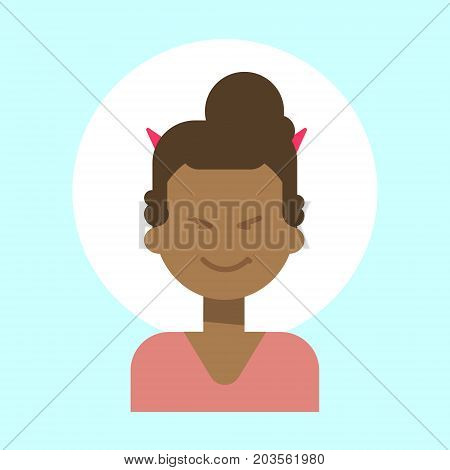 African American Female With Devil Horns Emotion Profile Icon, Woman Cartoon Portrait Happy Smiling Face Vector Illustration