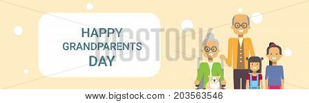 Happy Grandparents Day Greeting Card Banner Grandfather And Grandmother With Grandchildren Together Vector Illustration