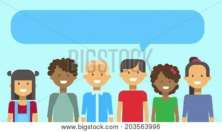Group Of Teenage Girls And Boys Mix Race Happy Smiling With Chat Bubble Young Woman And Man Diverse Teenagers Vector Illustration