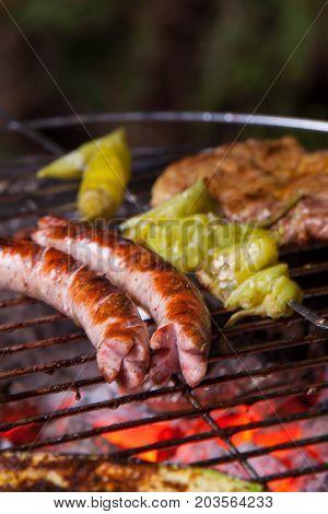 closeup of grilled sausages on the bbq