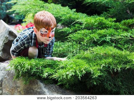 Small boy with funny face art painting. Male child play outdoors with tiger drawing on face. Children event, birthday party and creative entertainment.