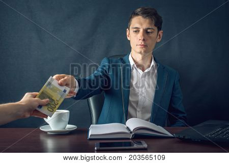 Man Businessman In Suit Refuses To Take The Money By Showing That He Is Not A Grafter. Concept Of Co