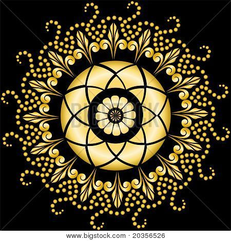 Golden Mandala On The Black
