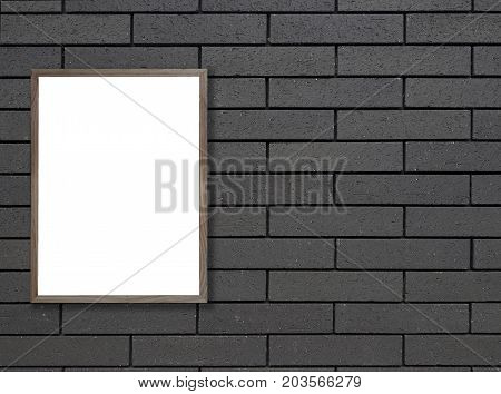 Old wooden photo frame on Black brick wall for background. texture for add text.