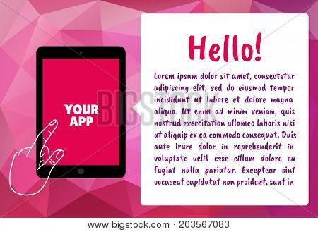 Vector template of the tablet for presentations banner workshop or hackathon. The bubble with the text.