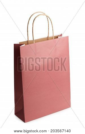 Blank mockup of shopping bag from recycle paper isolated on white background. Packet for gift or present.
