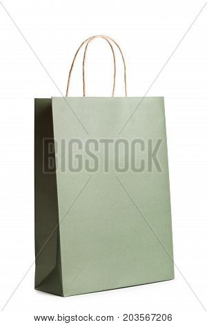 Template mockup of retail paper shopping bag isolated on white. Packet for gift or present.