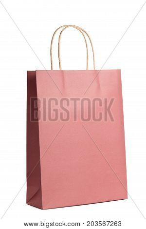 Mockup of paper shopping bag isolated on white background. Packet for gift or present.