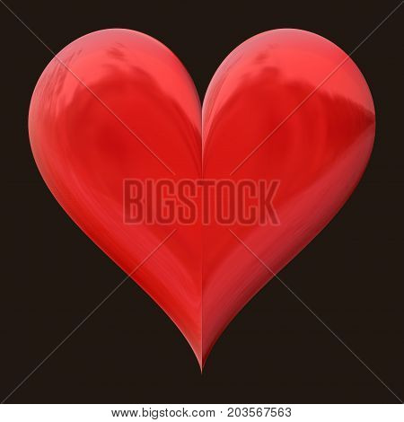 Big 3d shiny smooth bright red heart shape isolated decoration