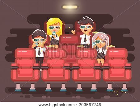 Stock vector illustration cartoon characters children, classmates, pupils, schoolboys, schoolgirls, boys, girls sitting in armchairs, cinema hall, eat popcorn, watching movie in 3d glasses flat style