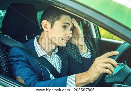 Upset Driver Man In The Car. Quarrels And Discontent In The Road